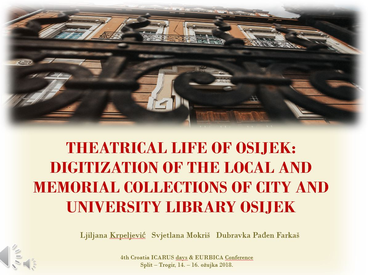 prikaz prve stranice dokumenta Theatrical life of Osijek: digitization of the Local and Memorial collections of City and university library Osijek